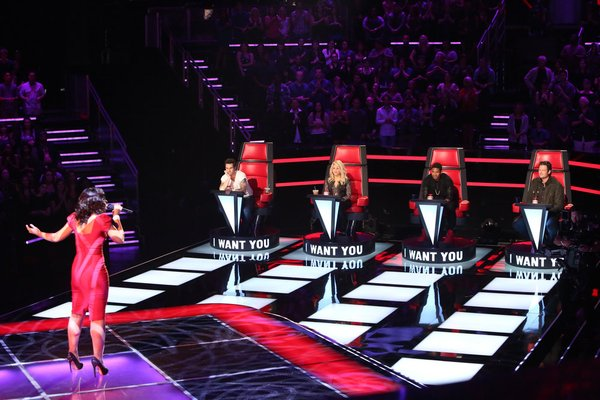 `The Voice`: Sasha Allen sings for coaches Adam Levine, Shakira, Usher and Blake Shelton. (NBC photo by Adam Taylor)