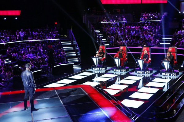 `The Voice`: James Irwin draws `I Want You` chair turns from Adam Levine, CeeLo Green, Christina Aguilera and Blake Shelton. (NBC photo by Trae Patton)