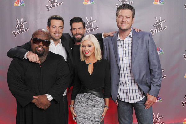 `The Voice` `Season 5 Press Junket`: Pictured from left are CeeLo Green, Carson Daly, Adam Levine, Christina Aguilera and Blake Shelton. (photo by Trae Patton/NBC)