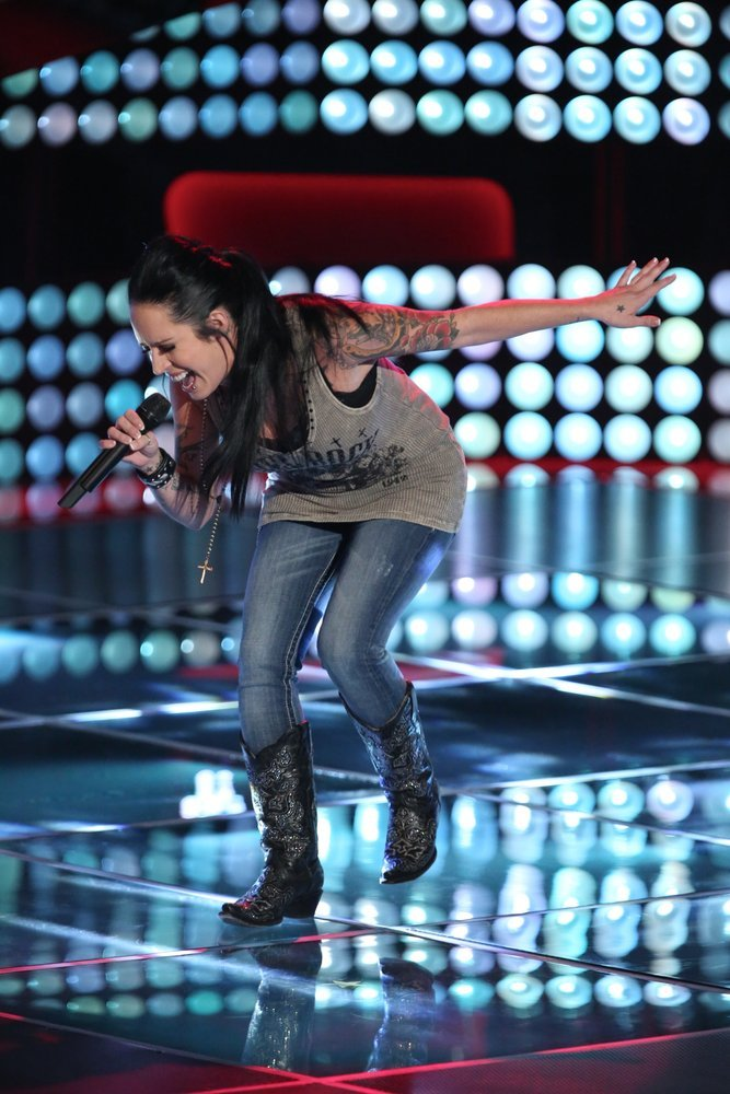 "Kat Perkins performs on ""The Voice."" (NBC photo by Tyler Golden)"