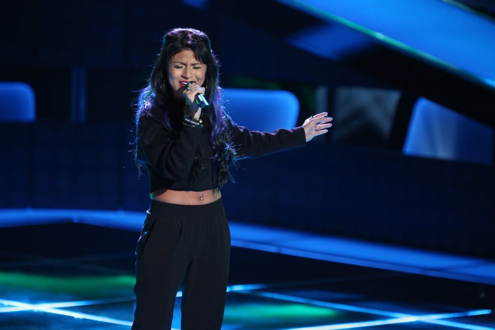 "Paula DeAnda performs on NBC's ""The Voice."" (NBC photo by Tyler Golden)"