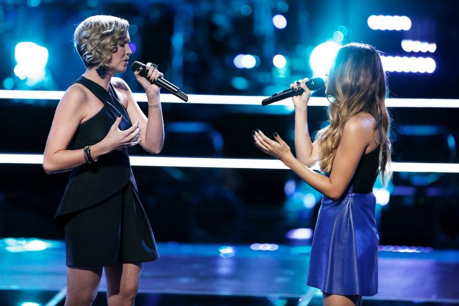 `The Voice`: Beth Spangler, left, and Mia Pfirrman do `Battle.` (NBC photo by Tyler Golden)