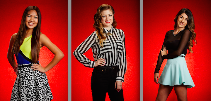 `The Voice`: Pictured, from left, are Katriz Trinidad, Jean Kelley and Mia Pfirrman. (NBC photos by Paul Drinkwater/NBC)
