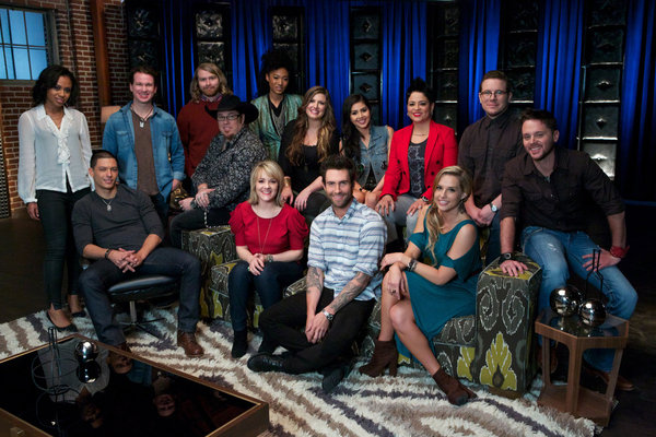 `The Voice`: Team Adam. Pictured from left, back row: Sasha Allen, Patrick Dodd, Ryan Hayes (Midas Whale), Michael Austin, Judith Hill, Sarah Simmons, Agina Alvarez, Karina Iglesias, Jon Peter Lewis (Midas Whale) and Warren Stone; front row: Duncan Kamakana, Amber Carrington, Adam Levine and Amy Whitcomb. (NBC photo by Tyler Golden)