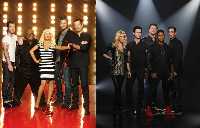 Adam Levine, CeeLo Green, Christina Aguilera, Blake Shelton, Shakira, Usher and Carson Daly will all return to `The Voice` next season. (NBC photos)