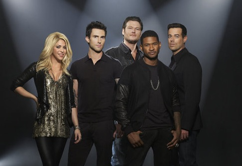 Pictured from `The Voice`: Shakira, Adam Levine, Blake Shelton, Usher and Carson Daly (NBC photo)