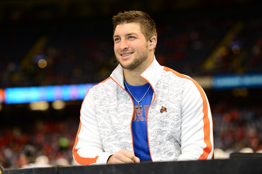 Tim Tebow is pictured on the `ESPN College GameDay` set prior to the 2013 Allstate Sugar Bowl Game (ESPN Images photo by Phil Ellsworth)