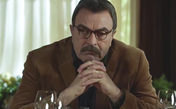 `Blue Bloods`: Frank Reagan (Tom Selleck) sits at the family dinner table. (CBS photo)