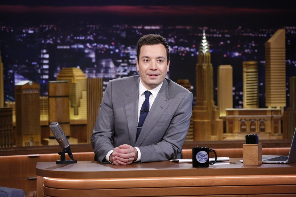 `The Tonight Show Starring Jimmy Fallon`: Jimmy Fallon began his time behind the desk Monday. (NBC photo by Lloyd Bishop)