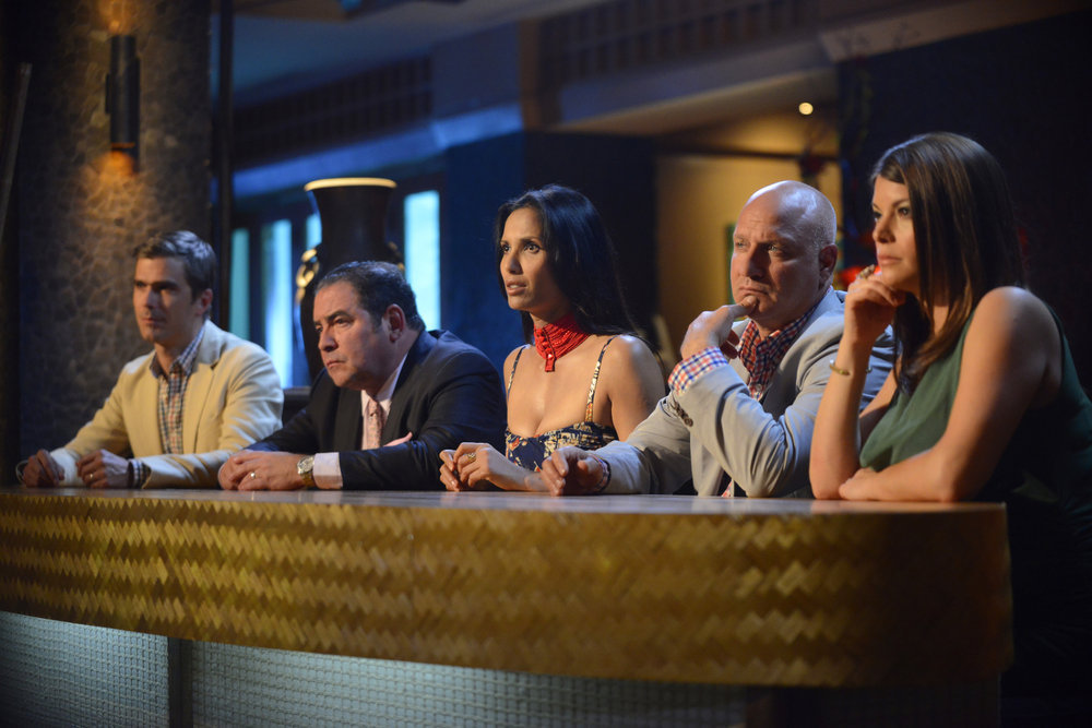 `Top Chef`: Pictured at the season 11 finale, from left: judges Hugh Acheson, Emeril Lagasse, Padma Lakshmi, Tom Colicchio and Gail Simmons. (Bravo photo by David Moir)
