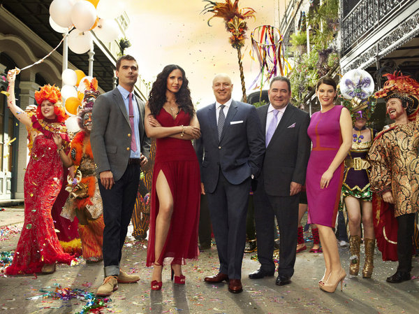 `Top Chef` Season 11: Pictured, from left: Hugh Acheson, Padma Lakshmi, Tom Colicchio, Emeril Lagasse and Gail Simmons. (Bravo photo by Justin Stephens)