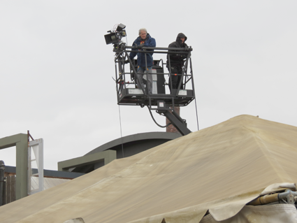 "A camera crew works on the set of ""Defiance."""