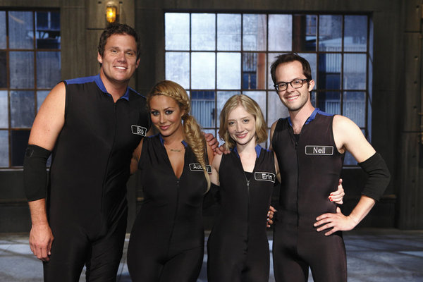 `Total Blackout`: `Celebrity Blackout` guests Bob Guiney, Aubrey O'Day, Erin Way and Neil Grayston. (Syfy photo by Trae Patton)