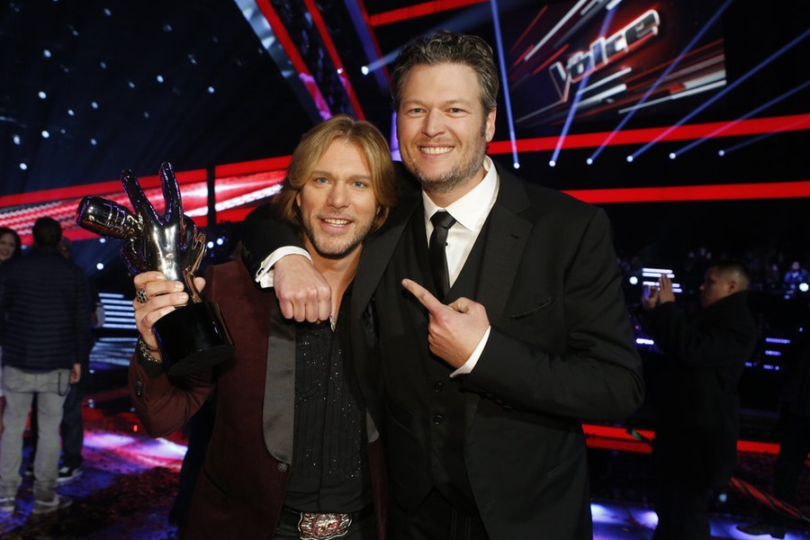 `The Voice` season seven winner Craig Wayne Boyd, left, is shown with his coach, Blake Shelton. (NBC photo by Trae Patton)