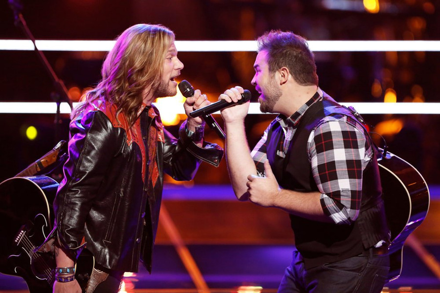 `The Voice`: `Battle Rounds` Craig Wayne Boyd, left, and James David Carter perform in the `Battle Rounds.` (NBC photo by Tyler Golden)