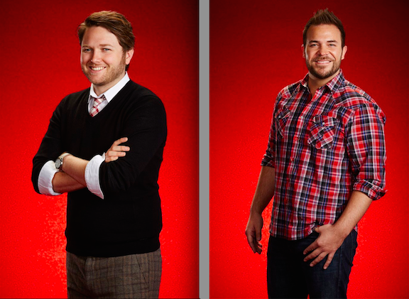 `The Voice`: Luke Wade, left, and James David Carter. (NBC photos by Paul Drinkwater/NBC)