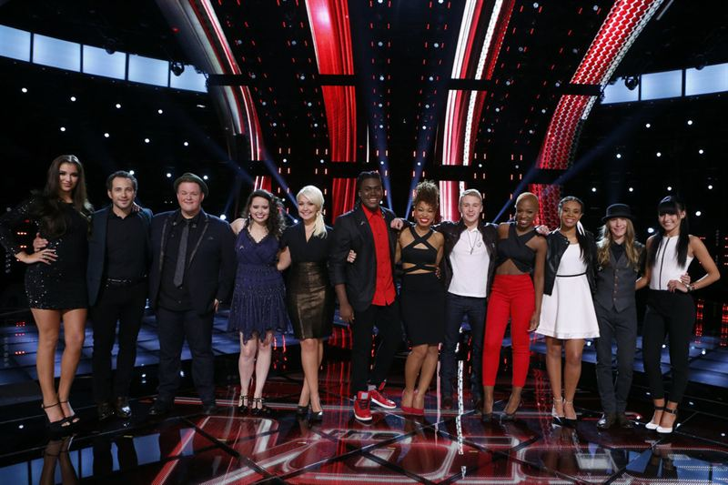`The Voice` top 12. (NBC photo; click for a larger image)