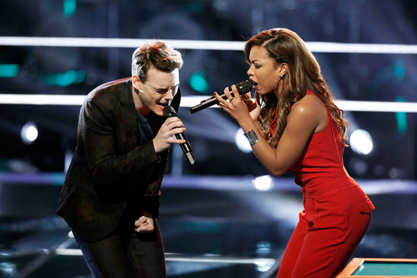 `The Voice`: Clinton Washington duets with India Carney. (NBC photo by Tyler Golden)