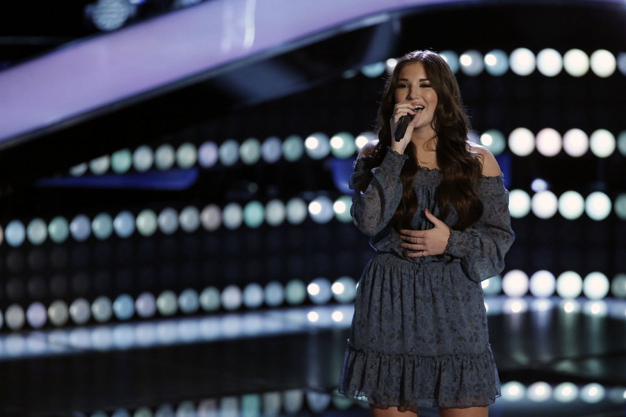 """The Voice"": DeAnna Johnson sings. (NBC photo by Tyler Golden)"