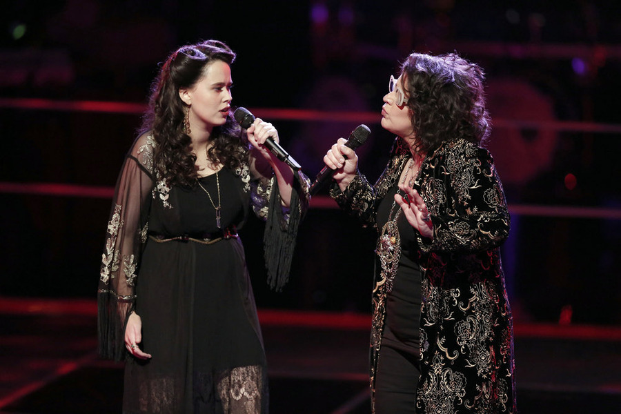 """The Voice"": Hannah Kirby, left, ""Battles"" Sarah Potenza. (NBC photo by Tyler Golden)"