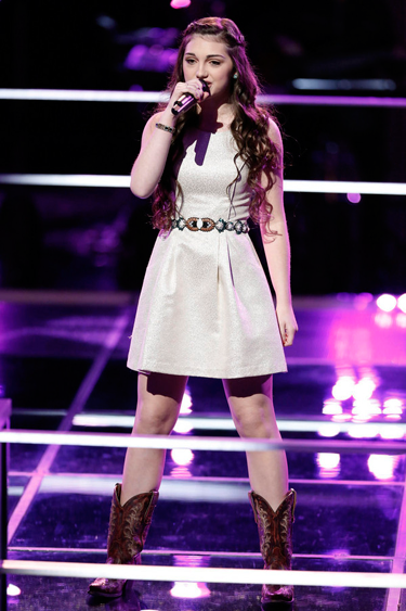 """The Voice"": Kelsie May performs. (NBC photo by Tyler Golden)"