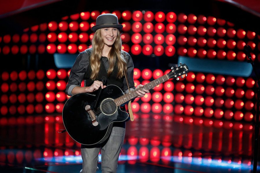 `The Voice`: Sawyer Fredericks performs for the coaches Adam Levine, Pharrell, Christina Aguilera and Blake Shelton. (NBC photo by Tyler Golden)