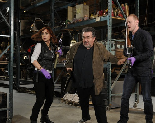 `Warehouse 13`: Pictured, from left, are stars Allison Scagliotti as Claudia Donovan, Saul Rubinek as Artie Nielsen, Aaron Ashmore as Steve Jinks, Jaime Murray as H.G. Wells (Syfy photo by Steve Wilkie).