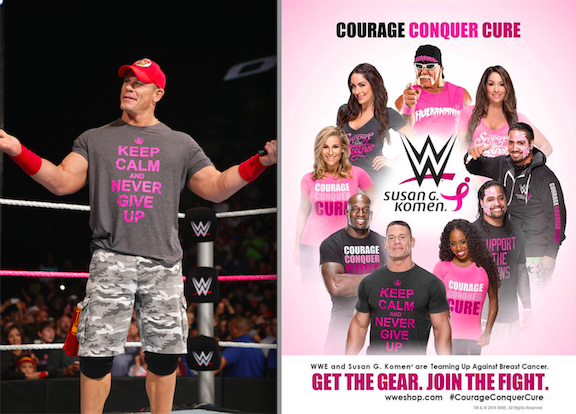 John Cena and the WWE are promoting breast cancer awareness through the `Courage Conque Cure` campaign. (USA Network/WWE photos)