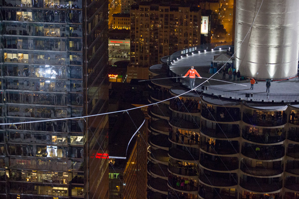 "Nik Wallenda high above ""The Windy City."""