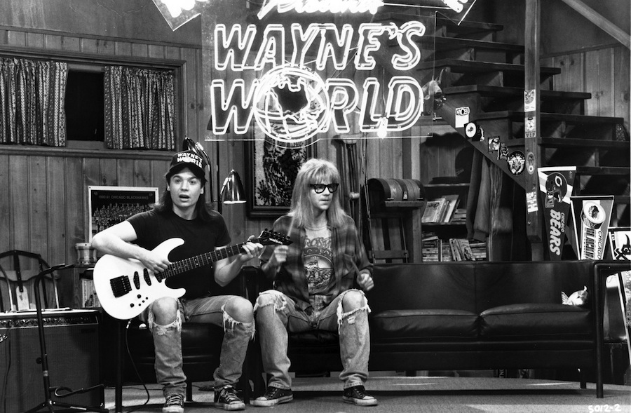 Producer Lorne Michaels, writer-actor Mike Myers, actor Dana Carvey and director Penelope Spheeris will reunite for a panel discussion and screening of `Wayne's World` on Tuesday, April 23, at 7:30 p.m. at the Academy of Motion Picture Arts and Sciences' Samuel Goldwyn Theater in Beverly Hills. Pictured are Myers (Wayne) and Carvey (Garth) in 1992's `Wayne's World.` (photo credit: Paramount Pictures/A.M.P.A.S.)
