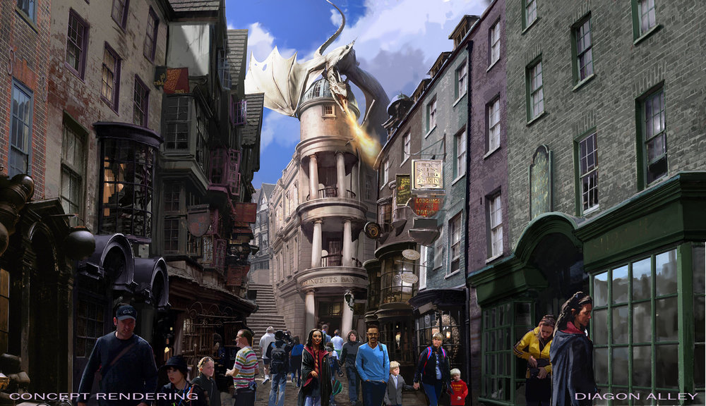 Universal Orlando: Pictured is a concept rendering `The Wizarding World of Harry Potter - Diagon Alley.` (Photo by Universal Orlando)