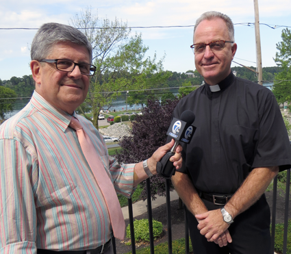 "Jon Summers poses with the Rev. Monsignor David LiPuma. St. Peter R.C. Church will once again host a ""Jazz Mass,"" this time at 4 p.m. Saturday, Aug. 27."