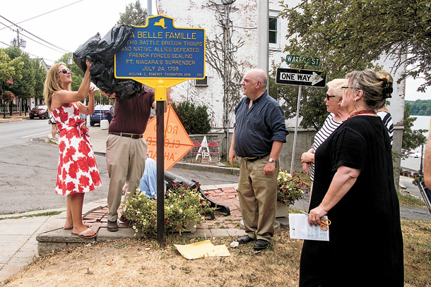 The new Battle of La Belle Famille marker is unveiled. (Photo by Wayne Peters)