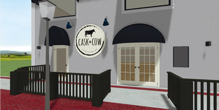 Pictured is an artist's rendering of the soon-to-be-open Cask & Cow restaurant at 840 Center St. (Image courtesy of Giusiana Architects and Engineer)