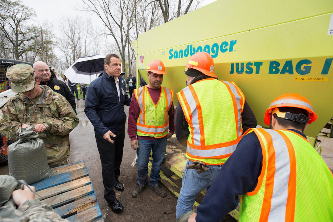 Governor Andrew Cuomo declared a state of emergency for the following counties in order to expedite repair to impacted structures and construction of shoreline stabilization projects: Cayuga, Jefferson, Monroe, Niagara, Orleans, Oswego, St. Lawrence and Wayne. The governor's order empowers DEC and other state agencies to issue emergency individual permits for those larger-scale response actions that may be necessary. (Photo courtesy of the governor's Flickr page)