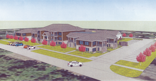 Orchard Park developer James Jerge received six variances from the Village of Lewiston Zoning Board of Appeals on Tuesday. He intends to transform the former Fairchild Manor site into what's pictured in the artist's renderings shown above, and below.