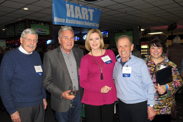 Pictured at the HART celebrity bartending event, from left: Village of Lewiston Mayor Terry Collesano, Channel 7 anchor Keith Radford, Channel anchor Maryalice Demler, former Mayor Richard Soluri and TV host Lori Caso. (Click to enlarge)