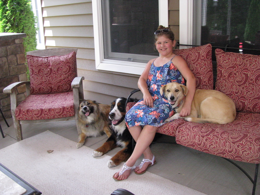 Samantha Tocke, 11, snuggles with her family's dogs at their Lewiston home. From left are Bear, Wilson and Charmer. Bear and Charmer were rescue dogs adopted from Heart of Niagara. (Photo by Susan Mikula Campbell)