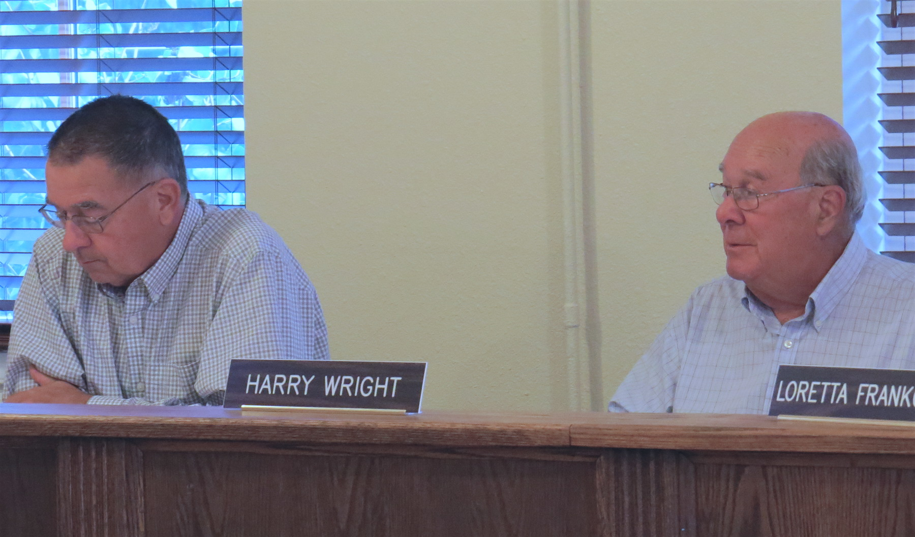 Village of Lewiston Historic Preservation Commission chairmen Ken Slaugenhoupt, left, and Harry Wright.
