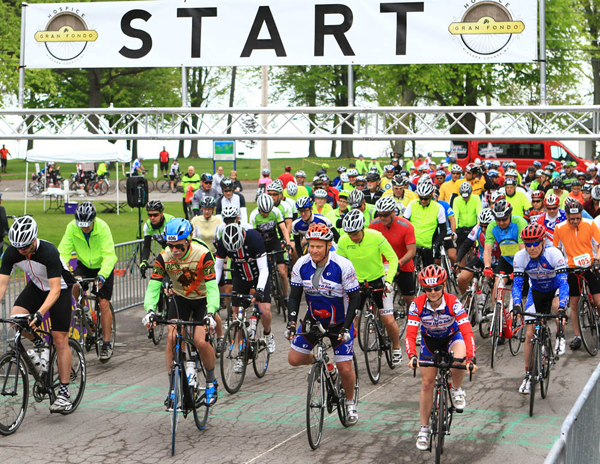 Riders from a Hospice Gran Fondo begin their ride at Krull Park in Olcott. The ride features three routes that travel through the Niagara Wine Trail and finish with a post ride party back at Krull Park in Olcott.