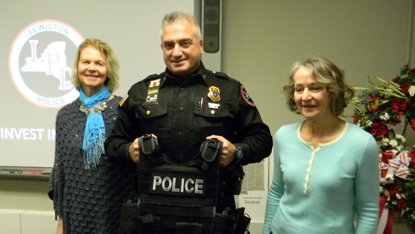 Lewiston Police Chief Frank Previte stands with Village of Lewiston residents Claudia Marasco (left) and Arlene Sliz as he announced successful completion of the `Invest in a Vest` fundraiser on Tuesday. The two women organized the campaign last year with the purpose of outfitting the LPD with new, special-use vests.  (Photo by Terry Duffy)