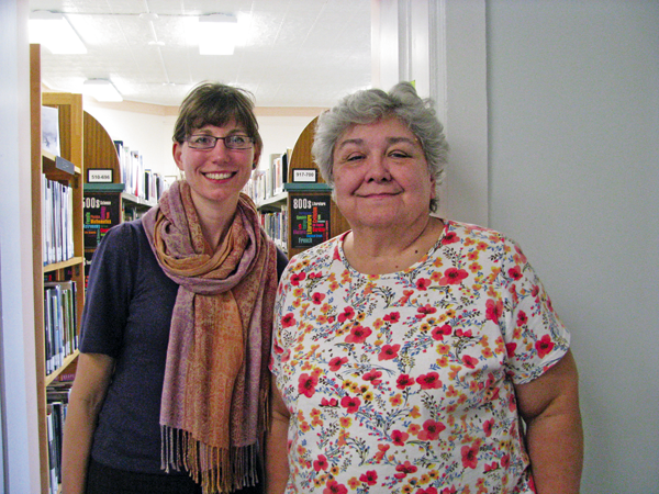 Retiring Youngstown Free Library Director Jan Gilgore, right, with new Director Sonora Miller. (Photo by Susan Mikula Campbell)