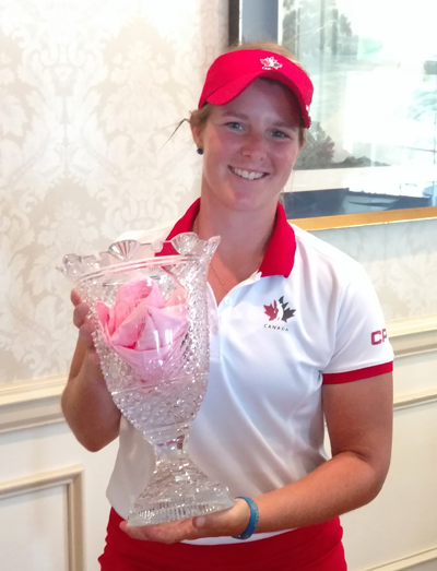 Josee Doyon with the Women's Porter Cup trophy.