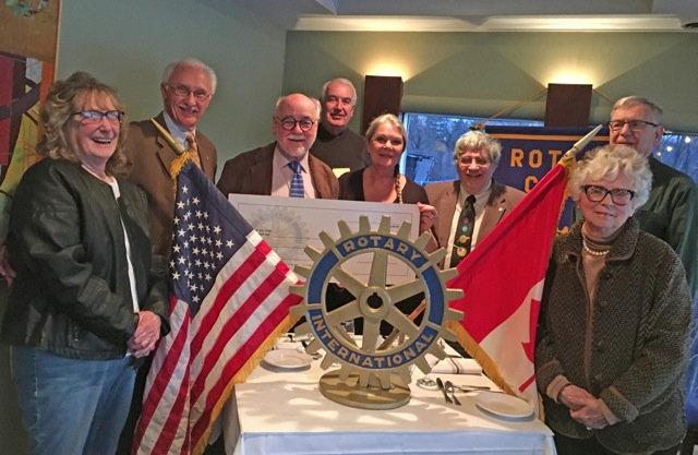 Pictured, from left: Louise Maggard, Ron Danielewicz, John Hopkins (Rotary Club president), John Shaver, Eva Nicklas, Dr. Tom Gerbasi, John Cich and Anne Hopkins.