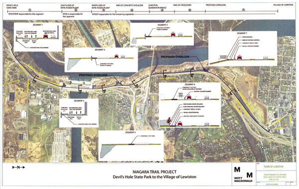 The Mott MacDonald diagram notes many design variations found in the Niagara Trail project. Click to enlarge, or download a copy in the story text.