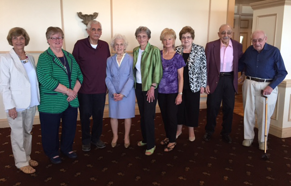 Volunteers with more than 20 years of service gathered at the Mount St. Mary's volunteer recognition luncheon. From left: Phyllis Gross, Gail McCalister, Lou Campanaro, Marge Mirabelli, Helen Rengstorf, Barbara Scozzafava, Janet Furlong, Steve LaBarber and Joe Marra.