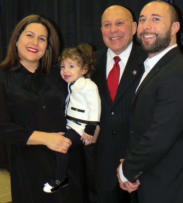 Assemblyman Angelo Morinello is flanked by his children, Melissa and Matthew.