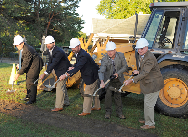 Pictured, from left, at the groundbreaking Sept. 12 were Tom Ahern, Chris Leardini, David Sanchez, Jim Fittante and Tom Sheeran. (Photo by K&D Action Photo and Aerial Imaging)