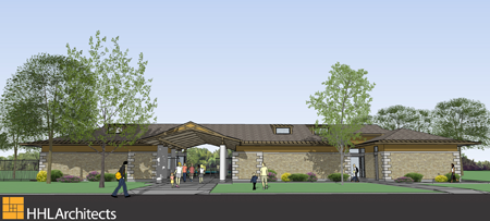 Pictured above are artist renderings of project created by HHL Architects and provided by the New York State Office of Parks, Recreation and Historic Preservation. (Bathhouse front)