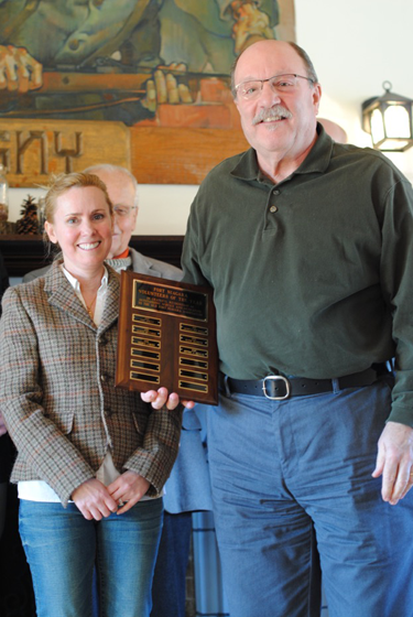 Old Fort Niagara's volunteer coordinator, Genevieve Montante, stands with volunteer of the year, Jeffery Dzialak, who contributed 371 hours to the fort in 2016.